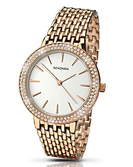 Sekonda Ladies Rose Tone Bracelet Watch