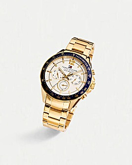 Tommy Hilfiger Gents Gold-Tone Chronograph Bracelet Watch