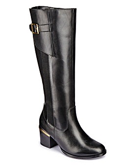 Sole Diva Leather Boot With Gold Detail Extra Curvy Plus Calf E Fit
