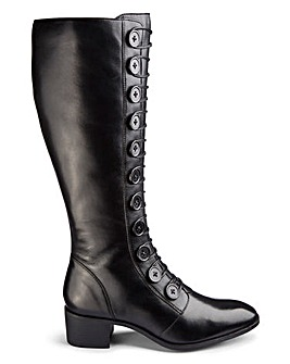 Lotus Knee High Button Detail Leather Boots Wide E Fit Standard Calf