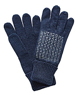 Joanna Hope Navy Crystal Gloves