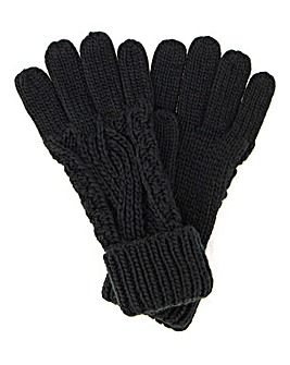 Darby Cable Knit Gloves Black