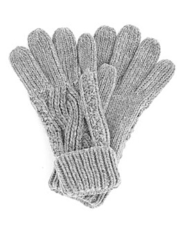 Darby Cable Knit Gloves Grey