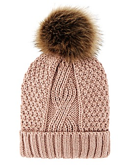 Darby Pink Cable Knit Hat