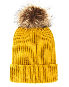 Shelly Ochre Pom Pom Hat