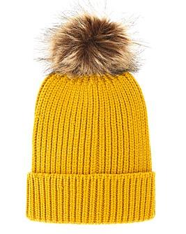 Shelly Ochre Pom Pom Hat