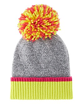 Neon Large Knitted Pom Pom Hat