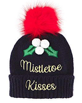 Mistletoe Kisses Novelty Bobble Hat