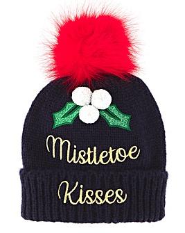 Mistletoe Kisses Novelty Bobble Hat