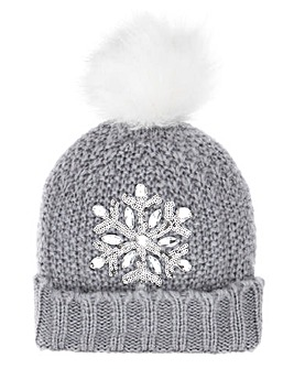 Snowflake Knitted Bobble Hat