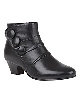Lotus Prancer Leather Button Detail Ankle Boots Wide E Fit