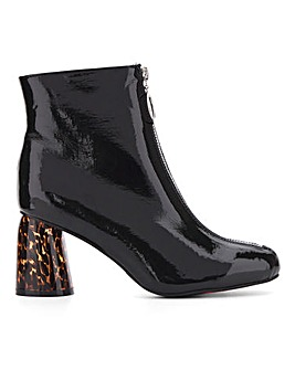Glamorous Zip Front Ankle Boot Wide E Fit