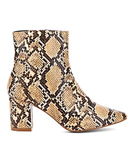 Glamorous Snake Print Ankle Boot E Fit