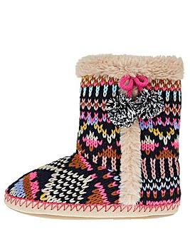 Accessorize Frosty Fairisle Slipper Boot