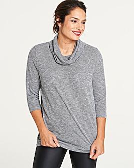 Grey/ Metallic Cowl Neck Jumper