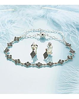 Diamond Shape Marcasite Clip On Earrings