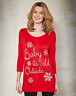 Red 3/4 Sleeve Christmas T-Shirt
