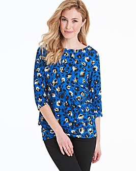 Cobalt Blue 3/4 Sleeve Printed Top