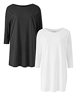 2 Pack Black/ White Longline T Shirts
