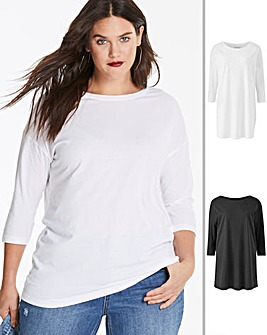 2 Pack Black/ White Longline T Shirts
