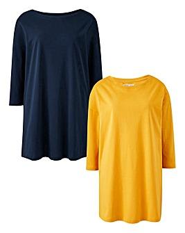2 Pack Navy/ Ochre Longline T Shirts