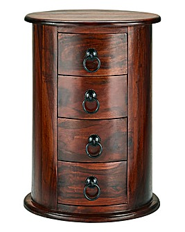Acacia Wood Drum Chest 4 Drawer