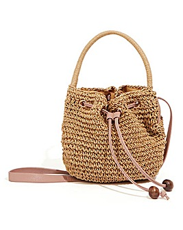 Oasis Lydia Drawstring Straw Bag