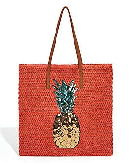 Oasis Pineapple Straw Tote Bag
