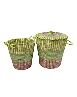 Set of 2 Sunburst Baskets