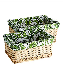 Set of 2 Leaf Print Storage Baskets