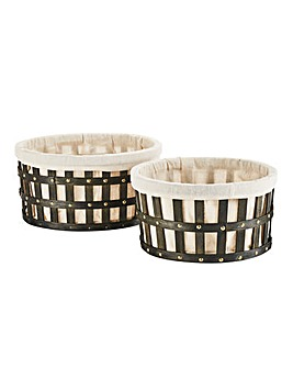 Set of Two Grey Washed Split Wood Studed Baskets