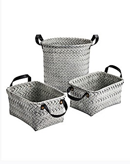 Set of 3 Grey Wash Storage Set