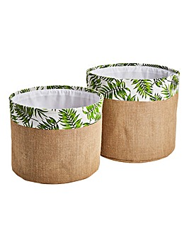 Set of 2 Hessian Leaf Print Baskets