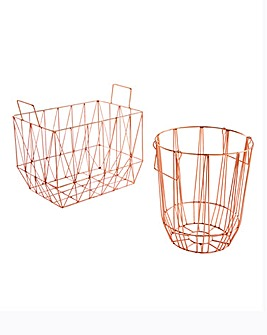 Set of 2 Rose Gold Wire Baskets