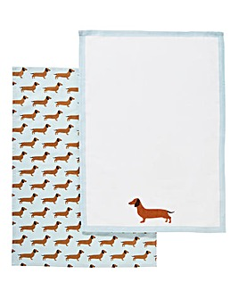 Roger The Sausage Dog Pair of Tea Towels