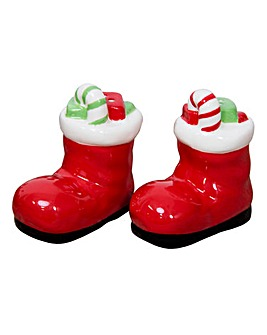 Santa Boot Salt and Pepper Pots