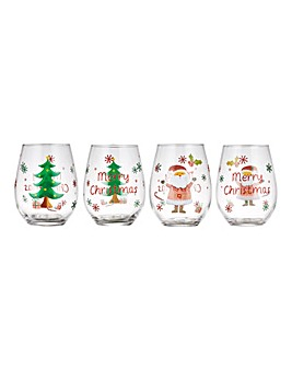Set of 4 Christmas Stemless Wine Glasses