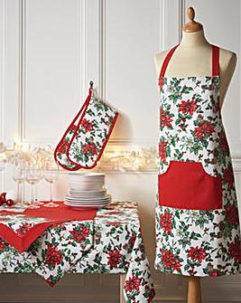 Poinsettia Apron & Oven Glove Set