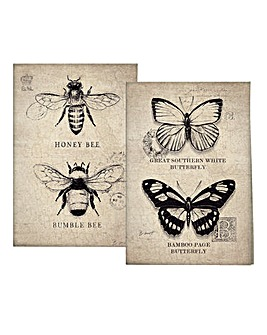 Vintage Bugs Set of 2 Tea Towels