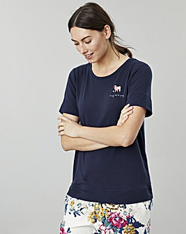 Joules Billie Short Sleeved Dog Embroided Top