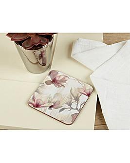 Metallic Floral Set of 6 Coasters