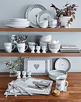 80 Piece Grey Heart Combo Dinner Set