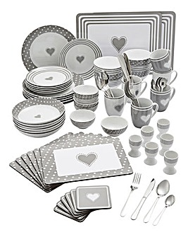 80 Piece Grey Heart Combo Dinnerset