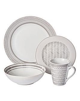 32 Piece Grey Herringbone Dinnerset