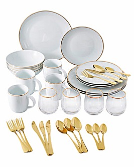 36 Piece Gold Band Dinner Set