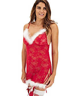Ann Summers Sexy Miss Santa Lace Chemise