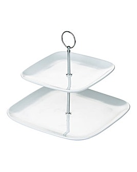 White 2 Tier Square Cake Stand