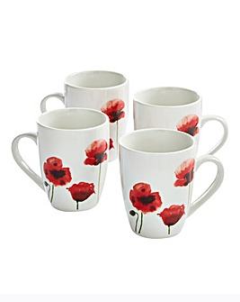 Poppy Set Of 4 Mugs