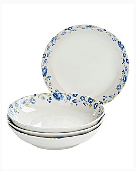 Blue Floral Set Of 4 Pasta Bowls