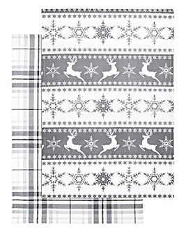Apline Christmas Tea Towel Pair